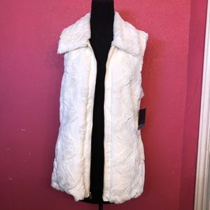 Marc New York Faux Fur/Leather White Cream Vest